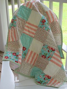 Hand quilted Baby Quilt, Moda Vintage Modern by Bonnie and Camille, Crib Quilt, Toddler quilt. 145.00, via Etsy.
