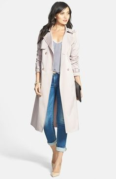 Chelsea28 Trench Coat, Tank & Paige Denim Skinny Jeans available at #Nordstrom