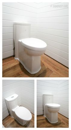 "Sandra of the blog ""Sawdust Girl"" installed one of our one-piece American Standard toilets in her new bathroom. Looks great Sandra! Click to see more."
