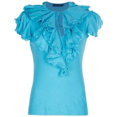 RALPH LAUREN BLUE Ruffle Blouse found on Polyvore