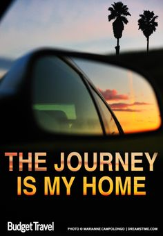 The Journey is my home - travel quote - Sunset reflected in car mirror riding along the California highway, palm trees in the distance