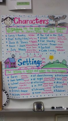 Build schema by brainstorming characters and settings they know. Great for story writing and story maps. character and setting, teaching setting, brainstorm charact, story writing for kids, anchor charts, reading charts for kids, story maps, story characters, brainstorm chart