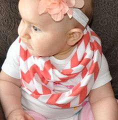 Baby Coral Chevron Scarf Toddler Kids Child's Infinity Loop Circle Scarf on soft jersey knit by ChevronScarf, $12.00