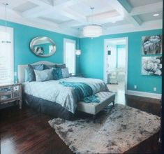 Tiffany blue bedroom...hmmm...a possibility someday with darker colors added as accents of course.