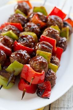 Easy Sweet and Sour Meatball Skewers