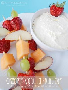 Creamy Vanilla Fruit Dip -8 ounces cream cheese softened to room temp. -8 ounces whipped topping -1 (3.4 oz) package instant vanilla pudding -1 (6 oz) container vanilla yogurt