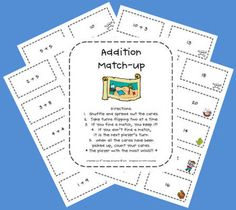 This is an addition match-up center that can be used during math centers.  Students will try to match the answer with the correct addition sentence...