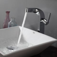 White Square Ceramic Sink and Typhon Faucet Chrome