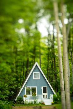 My Blue A-Frame Cabin in Harbor Springs, Michigan. Taken with a Lensbaby Edge.