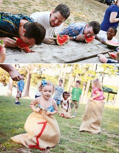sack races and eating contests are great for a farm party