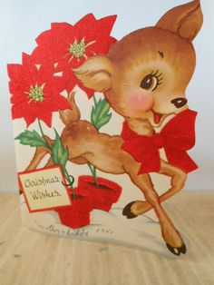 Vintage Adorable Card with brown Deer Fawn and Pointsetta  for Christmas with  Red Fuzzy details 1950s