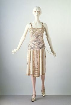 'Byzance' evening dress  Jean Patou (1880-1936)  1924  Paris  Silk, embroidered with glass bugle beads and imitation baroque pearls, lined with georgette, and fastened with metal hooks and eyes