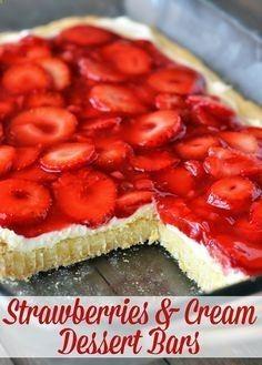 Strawberries  Cream Dessert Bars