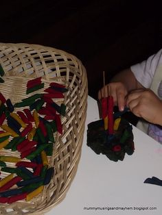 Pasta and Spaghetti stick threading...toddler easy but wonderful for eye hand coordination!