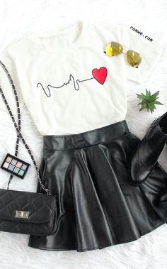 "White Short Sleeve Heart Print T-shirt with black leather skirt and black boots -<a href=""http://romwe.com"" rel=""nofollow"" target=""_blank"">romwe.com</a>"