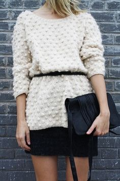 Use a skinny belt to cinch an oversized sweater.