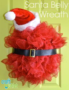 Deco Mesh Santa Belly Tutorial using a new half ball work wreath form.