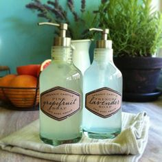 Homemade Castile Hand Soap in French lavender and grapefruit: recipe + free printable labels {Lia Griffith}