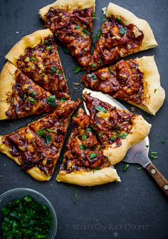 What to do with your leftover turkey? Make BBQ Turkey Pizza from WhiteOnRiceCouple.com