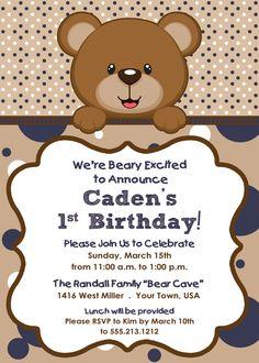Teddy Bear Themed Boy's Birthday Invitation by LetterBeePaperie