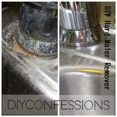 easy DIY to clean hard water stains off of sinks.
