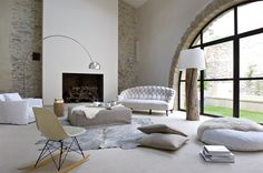 Yes. floor lamps, interior, window, fireplac, french homes, decor styles, place, light, floor cushions