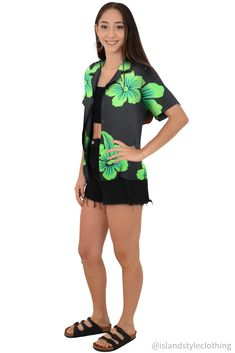 Fab floral Womens Hawaiian shirt black with large green hibiscus. Floral button down blouse with open collar perfect for a luau, fancy dress party, uniform, casual or cruise.  #hawaiianshirt #ladiesshirt #ladieshawaiianshirt #fancydress #uniform #luau #cruise #cruisewear #springbreak #barshirt #schoolies #luaushirt #luau #partyshirt #bluehibiscusshirt #floralshirt #uniforms