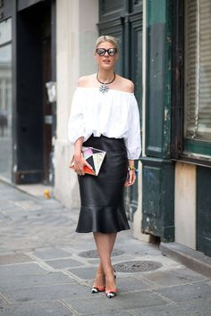 Off the shoulder peasant top and a leather flute skirt. Paris