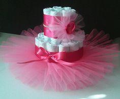 ballerina two tier tutu diaper cake in multipink design by JayLeeDesign