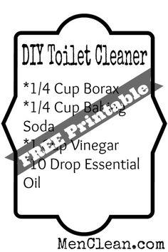 DIY Toilet Cleaner 1/4 cup borax 1/4 cup baking soda 1 cup vinegar 5 drops lemon essential oils