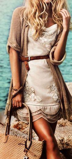 Chiffon Dress & Belted Cardigan  ❥