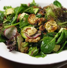 rustic Greek-style salad with baked feta cheese, walnuts, mixed salad ...