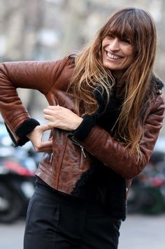 messy hair. leather jacket.  lovely.