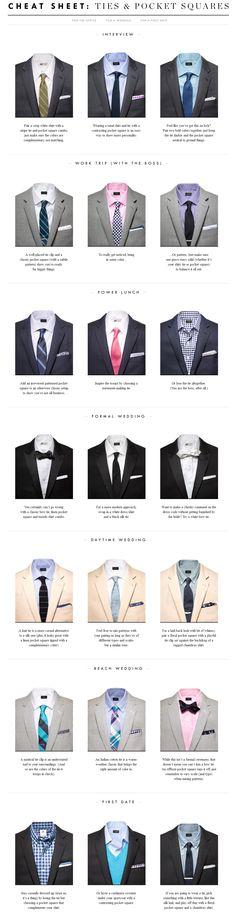 Tie & #PocketSquare Cheat Sheet via @J.Crew #Suit #Tie #Infographic