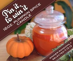 Re-pin this post to win a pumpkin spice candle. Winner randomly selected 11.13.13 spice candl, pumpkin spice