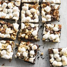 Combine the best tastes of a campfire in our Chocolaty Caramel-Nut S'more Bars! More bar cookies here: http://www.bhg.com/recipes/desserts/chocolate/brownies-and-bars/bar-cookies/?socsrc=bhgpin071314smorebars&page=10