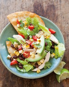 This is a refreshed version of the ubiquitous taco salad, with lean chicken and chopped vegetables piled high on a crispy tortilla. For a shortcut, omit frying the tortillas and serve the chicken s...