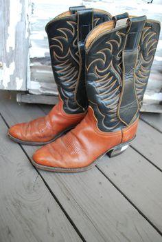 Vintage Cowboy Boots Dark Brown Black 7.5D by TheDoveCoteBrocante