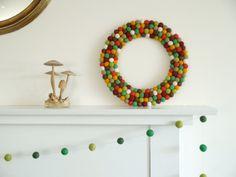 Felt Wreath Festive Woodland Rustic Door Decoration by Fairyfolk, $85.00