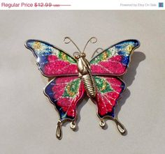 ON SALE 30 Off Vintage gold Pink Butterfly by PaganCellarJewelry, $9.74