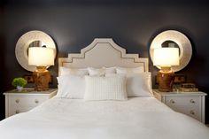 upholstered headboard & love the contrast dark walls/light furn & linens
