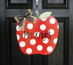 Hand painted Personalized Teacher Apple Sign