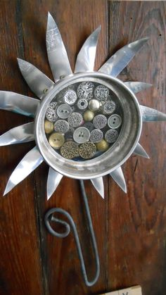 ButtonShop.ca - folk art flower metal metalic button junk yard upcycled salvaged assemblage letters personlized on antique wood background  $90.00 USD