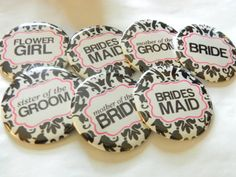 Wedding Party Buttons - $1.50. http://www.bellechic.com/products/cca097b1fa/wedding-party-buttons