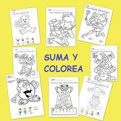 Fichas de matemáticas: Suma y colorea - Escuela en la nube