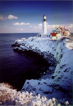 Snow covered Portland Head Light
