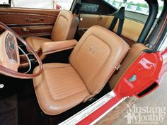 Mustang Monthly-A saddle interior in a red car is always tasty and a truly nice combination in a '68 Shelby    Read more: http://www.mustangmonthly.com/featuredvehicles/mump_1303_ford_mustang_shelby_gt_500_dream_shelbys/photo_11.html#ixzz2QdBHGXXi