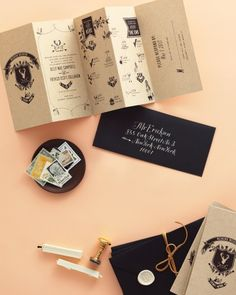 """This accordian-style invite features a pictographic """"map"""" of what events are happening when and where games, galleries, envelopes, maps, wedding invitations, wedding events, design paper, black, unique weddings"""