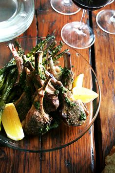 broiled lamb chops with Nigella Lawson's mint sauce