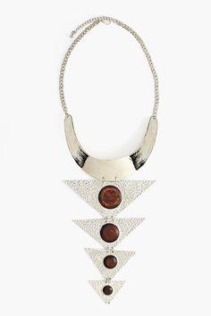 Wooden Arrow Collar Necklace - edgy boho statement piece